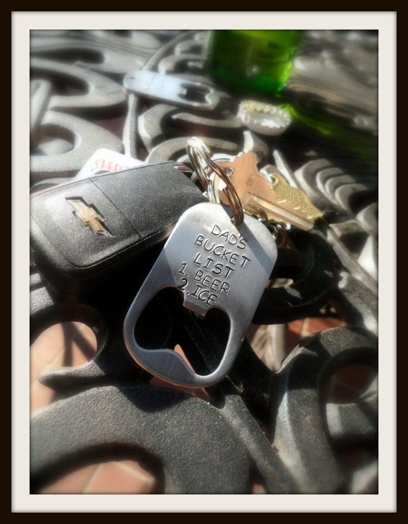 Hand Stamped Stainless Beer Bottle Opener Keychain Silver with Black Letters