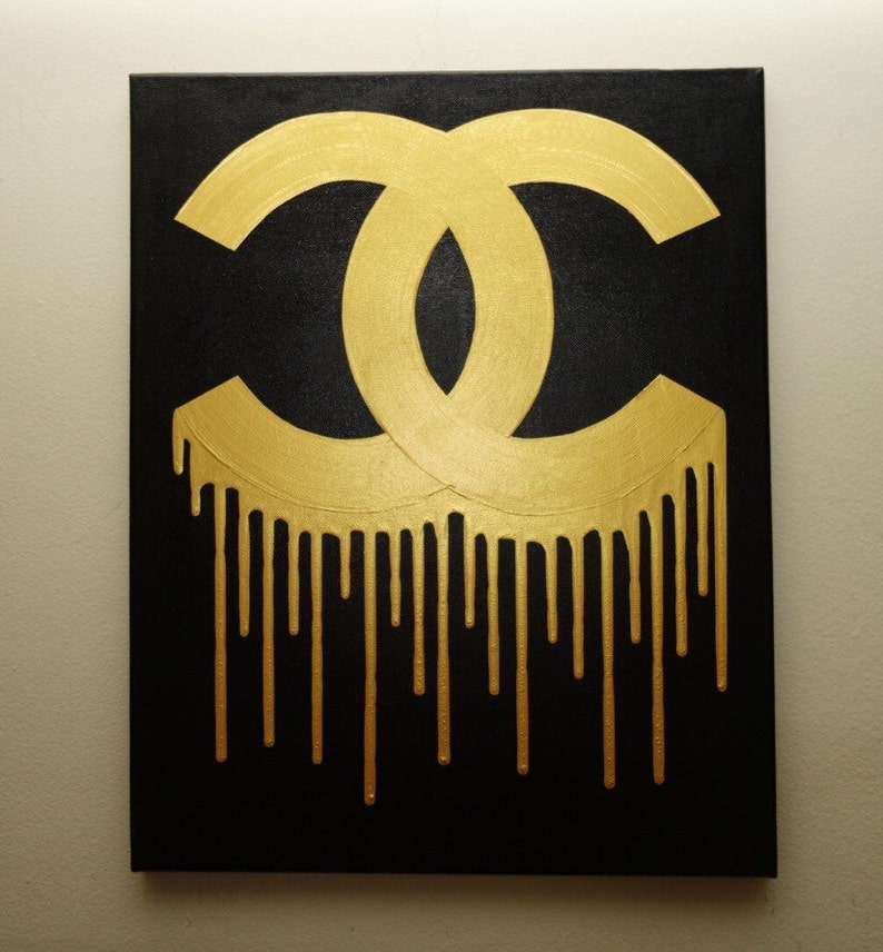 2f1c080ce195 Chanel Drip Painting 16x20 CC Inspired Black and Gold Art   Etsy