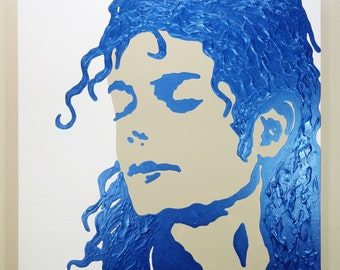 Michael Jackson Painting (24x24) Pop Art, Blue Painting