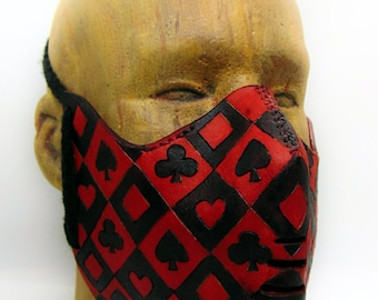 Leather facemask: Card Suits