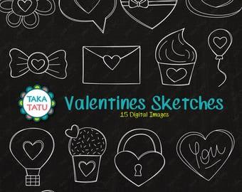 Valentines Sketches Clipart - Chalkboard Valentines / Chalkboard Hearts / Chalk Valentines / Chalkboard Sketches / Hand Drawn Chalk Sketches