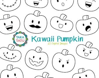 Kawaii Pumpkin Digital Stamp - Halloween Pumpkin Clipart / Cute Pumpkin Printable / Pumpkin Art / Halloween Printable / Halloween Doodles
