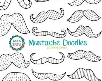 Mustache Doodles Clipart / Mustache Printable / Digital Mustache / Hipster Clipart / Hipster Mustache / Digital Stamp / Mustache Stamps