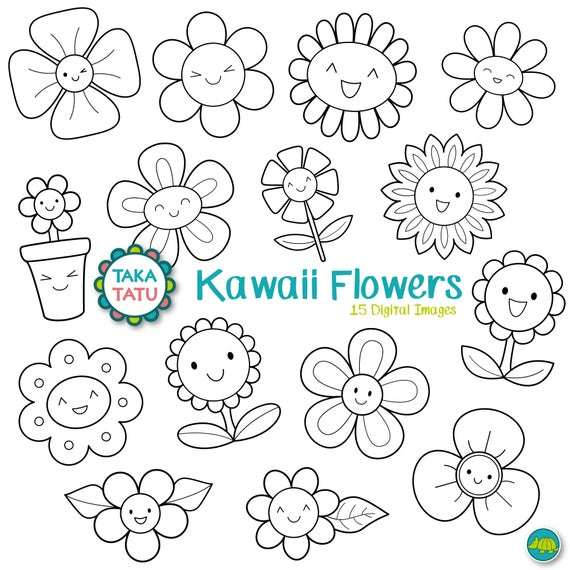 Kawaii Flowers Digital Stamp Black And White Clipart Etsy