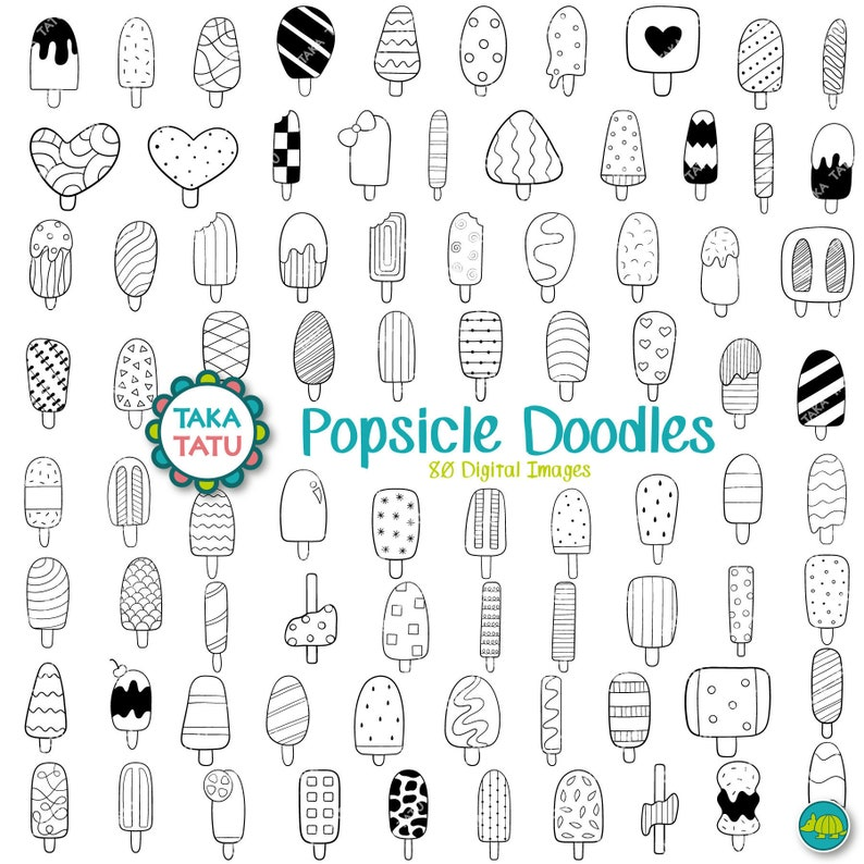 Popsicle Doodles Clipart Black And White Digital Stamp Etsy