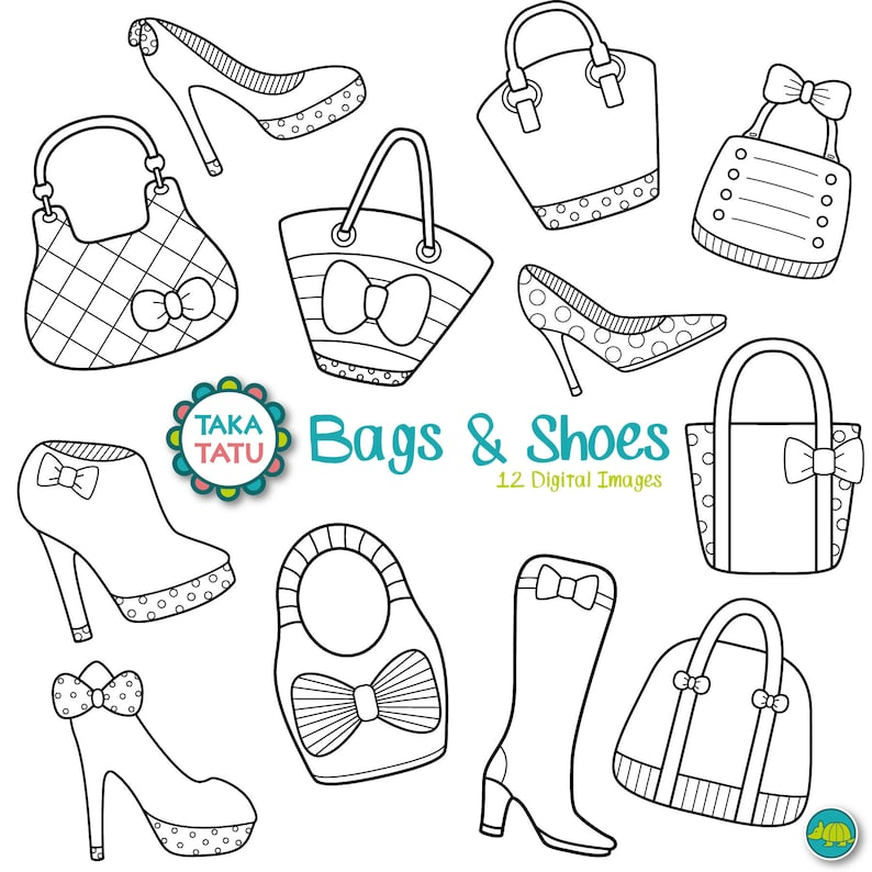 aab48a2805a Bags & Shoes Digital Stamp Pack Black and White Clip art / | Etsy