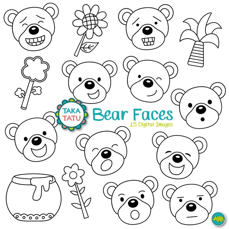 Bear Faces Digital Stamp Pack Black And White Clipart