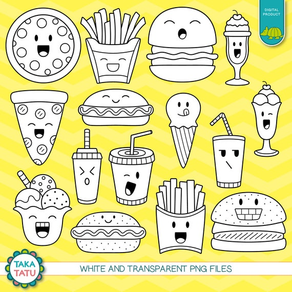 Digitalen Stempel Kawaii Fast Food Fast Food Clipart Süße Etsy
