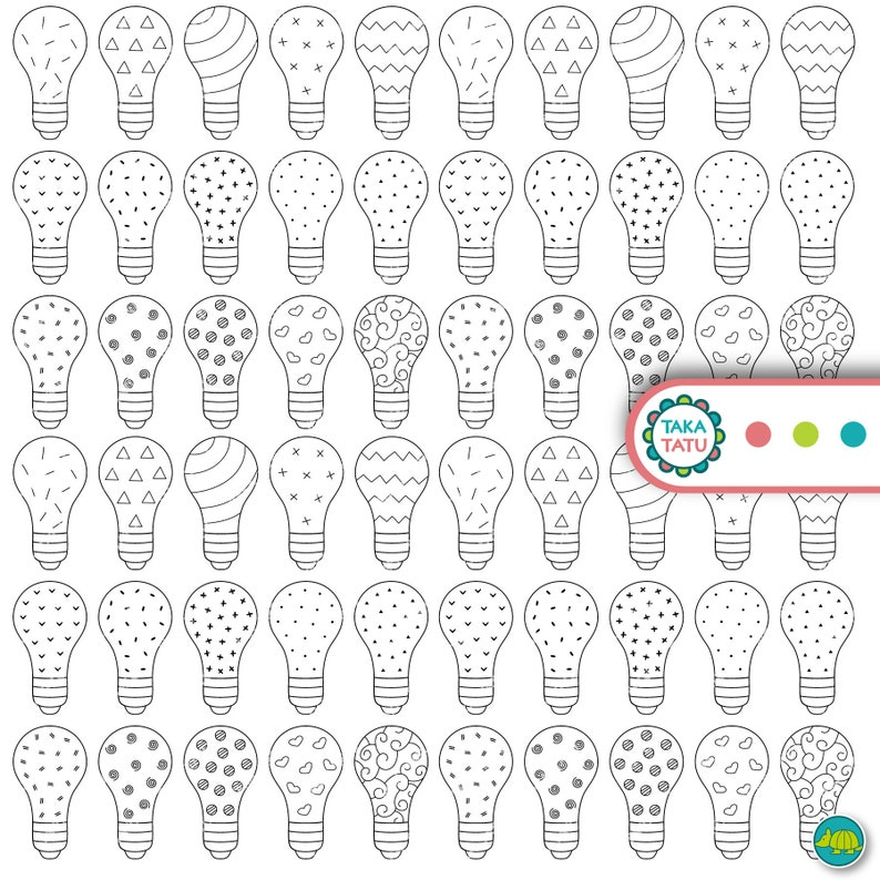 photo relating to Light Bulb Printable identify Lovable Light-weight Bulb Printable Line Artwork Graphics - Patterned Black and White Light-weight Bulb Clipart Pics / Printable Adorable Light-weight Bulbs / Down load