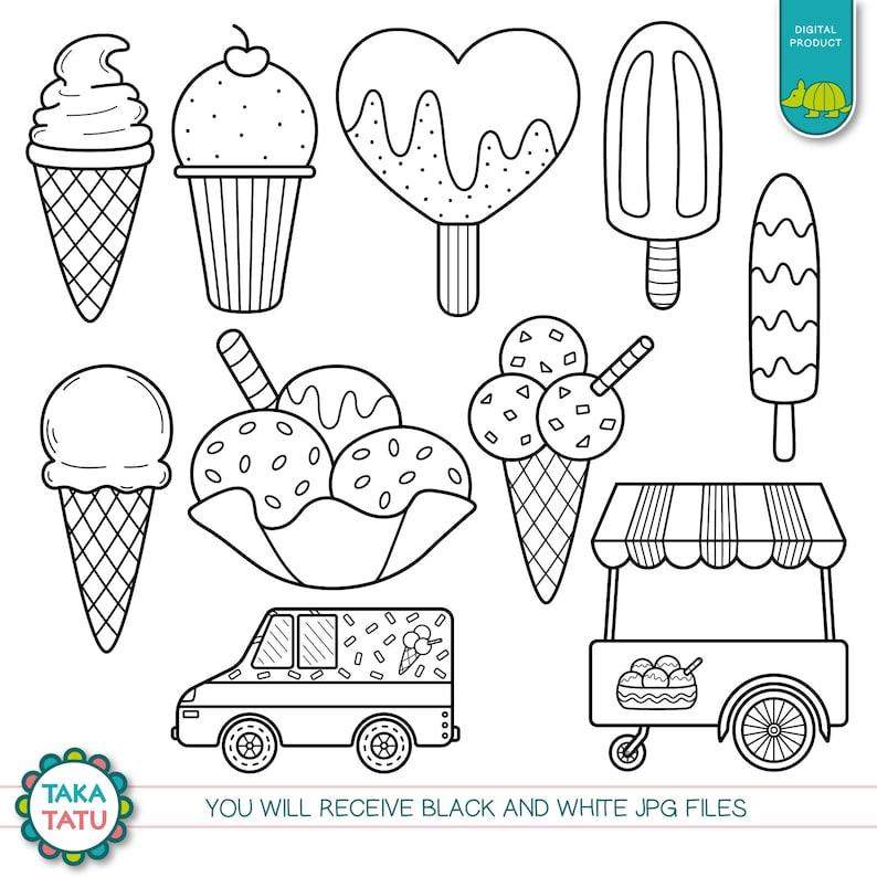 Ice Cream Truck Digital Stamp Ice Cream Truck Clipart Etsy