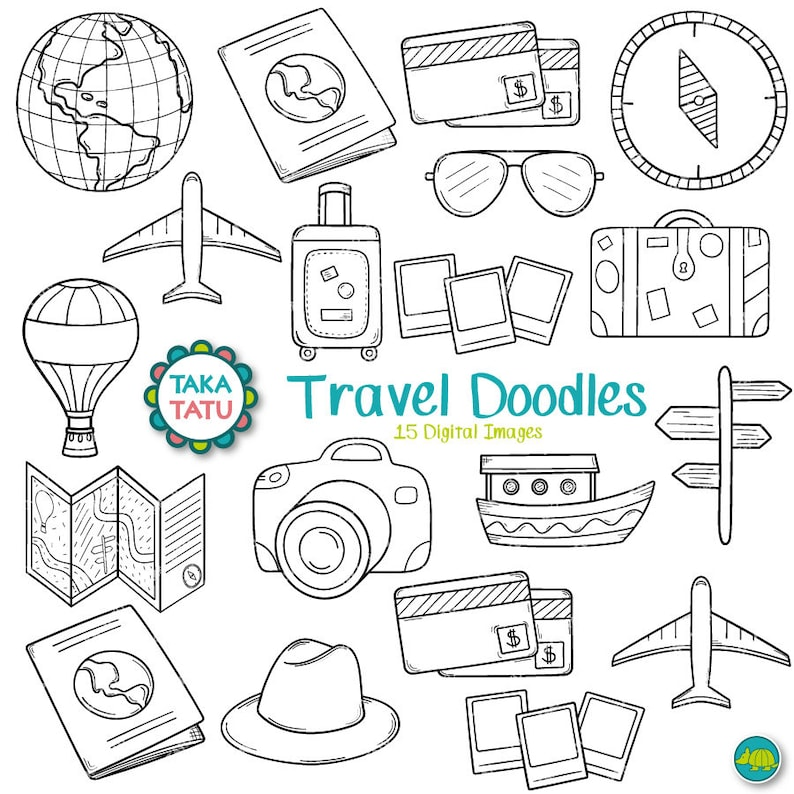 Travel Doodles Digital Stamp Clipart