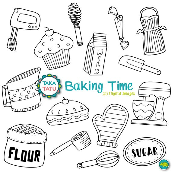 Backen Digitale Zeitstempel Pack Backen Clipart Clipart Etsy