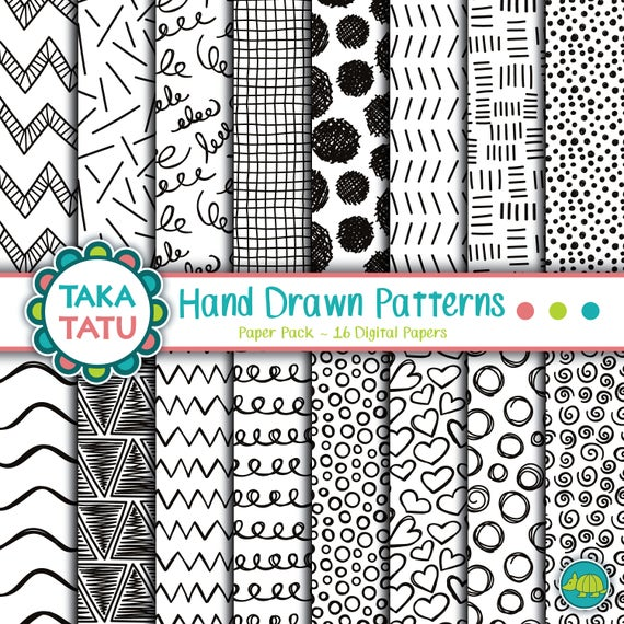 Hand Drawn Patterns Digital Paper Pack Doodle Patterns Etsy Adorable Doodle Patterns