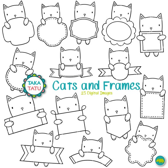 Cats and Frames Clipart Black and White Clipart / Cats | Etsy