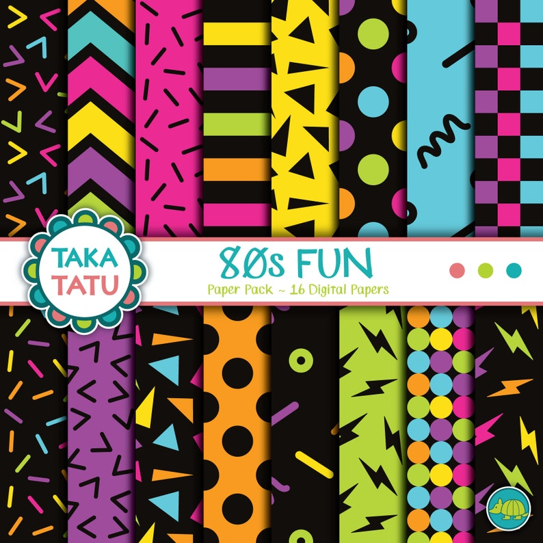 80s Fun Digital Paper - 80s Paper / Eighties Digital Paper / 80s Background  / 80s Party / 80s Patterns / Retro Patterns / Retro Papers