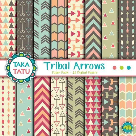 Arrow Graphic Digital Arrow Paper Tribal Print Tribal Arrow Paper Native Arrow Paper Arrow Print Papers Tribal Scrapbook Paper
