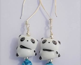 Chinese Panda porcelain earrings. With hammered hand made non tarnish silver earwires and semi precious and silver plated beads. Great gift.