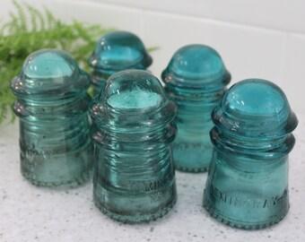 5) Hemingray #9 / Vintage Blue Glass Insulators / Blue Hemingray Insulators / CD-106 & CD-107 Aqua Hemingray Insulators