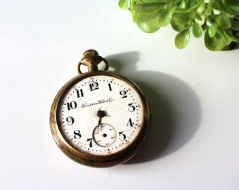 1910-16? Hampden Watch Co. Pocket Watch 17 Jewels / Non Working Vintage Railroad Pocket Watch / Parts Watch / 17 Jewel Watch Gold Plate