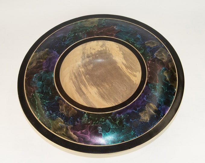 wood art, one of a kind, decorative bowl, painted bowl, magnolia wood bowl, tp2