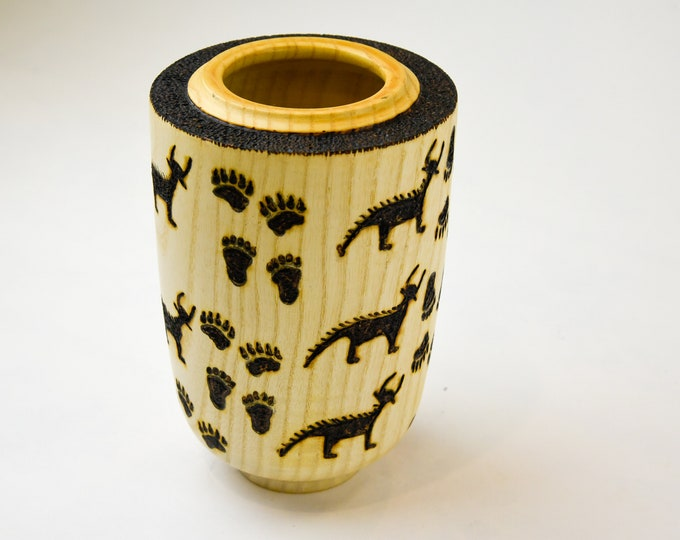 Hollow form, decorative wood, one of a kind, wood art, woodburning, white ash hollow form, tp159
