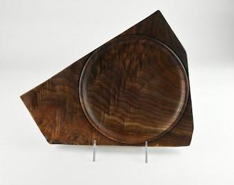 Live edge plate, wood plate, kitchenware, one of a kind, Black walnut plate, tp662