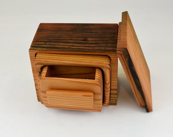 Wood box, small jewellery box, ring storage, Bandsawn box within a box, salvaged Douglas fir, tp46