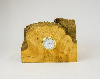 Clock, watch, timepiece, desk clock, mantle clock, Manitoba maple burl, boxelder burl, tp132