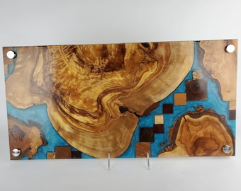 Cheese board, serving board, bread board, charcuterie board, various woods and epoxy resin, art panel, wood art, one of a kind, tp526