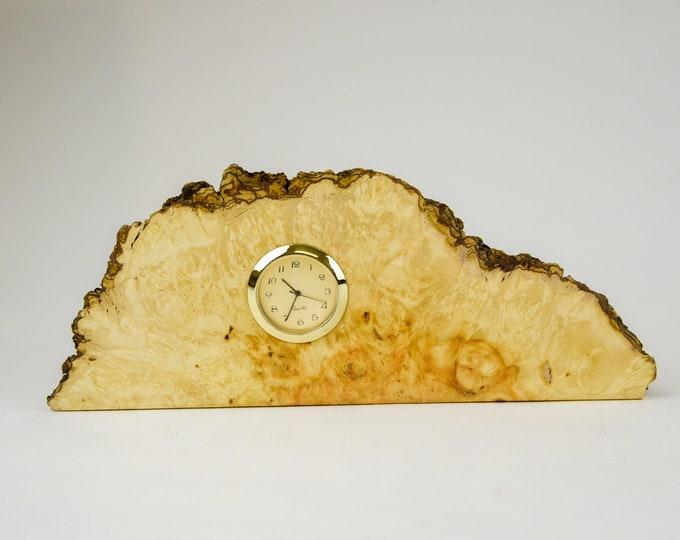 Clock, watch, timepiece, desk clock, mantle clock, Manitoba maple burl, boxelder burl, tp133