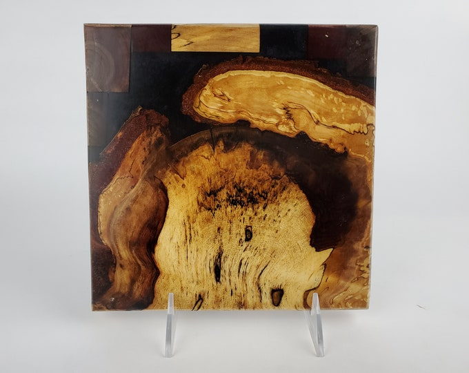 Cheese board, serving board, bread board, charcuterie board, various woods and epoxy resin, art panel, wood art, one of a kind, tp523