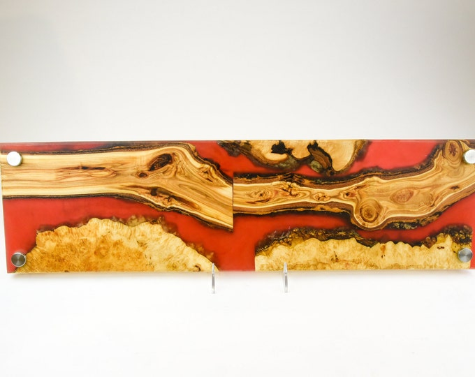 Cheese board, serving board, bread board, charcuterie board, various woods and epoxy resin, art panel, wood art, one of a kind, tp150