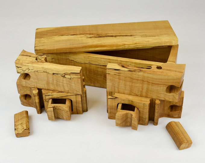 Wood Puzzle box, engagement box, small jewellery box, ring storage, Bandsawn box, spalted curly maple, tp45