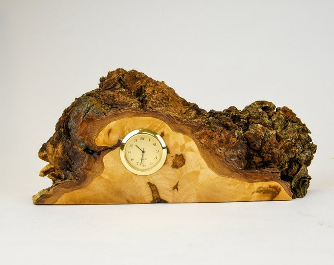 Clock, watch, timepiece, desk clock, mantle clock, maple burl, tp134