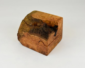 Wood Puzzle box, engagement box, small jewellery box, ring storage, black cherry burl, tp33
