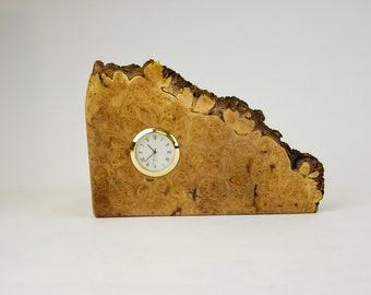 Clock, watch, timepiece, desk clock, mantle clock, Bigleaf maple burl, tp135