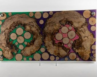 Cheese board, serving board, bread board, charcuterie board, various woods and epoxy resin, art panel, wood art, one of a kind, tp641