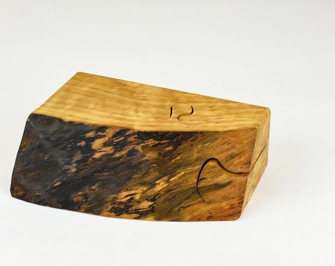Wood Puzzle box, engagement box, small jewellery box, ring storage, maple wood, tp39