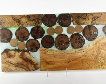 Serving board made from woods and epoxy resin, tp 719