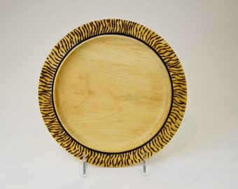 Plate, wood plate, kitchenware, one of a kind, woodburned Manitoba maple (boxelder) plate, decorative plate, food plate, tp138