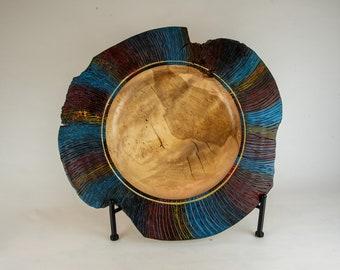 platter, wood platter, kitchen platter, Live edge platter, carved and dyed yellow birch burl, tp9
