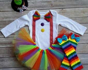 Girls Halloween Costume Clown Costume Halloween costumes baby Girl Clown Costume circus birthday Rainbow leg Warmers MizThings & Clown costume | Etsy