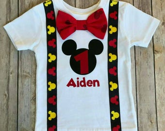 405eb53c Boys Mickey Mouse Birthday Shirt, Mickey Mouse Party Hat, boys 1st Birthday,  Boys Second Birthday, Birthday shirt
