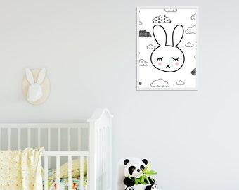 Sleepy Bunny Decor Print