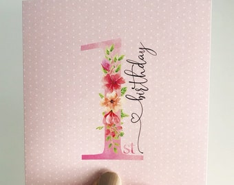 Beautiful Bouquet First Birthday Mini Card