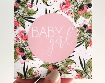 Baby Girl Mini Card {NATIVE FLORAL}