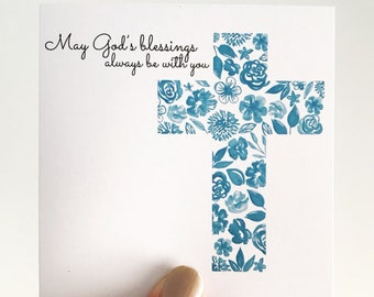 Blue Floral Christening Mini Card