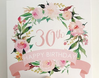 30th Birthday Card {PASTEL FLOWERS}