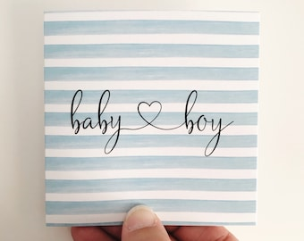 Baby Boy Mini Card {BLUE STRIPES}