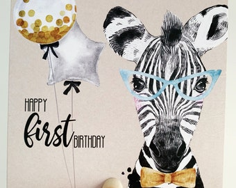 First Birthday Card {ZANE THE ZEBRA}